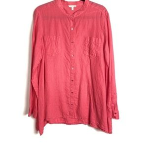 Eileen Fisher Pink Irish Linen Button Down Shirt